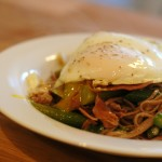 Egg-Topped Soba Noodles with Asparagus and Prosciutto