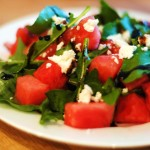 Watermelon, Feta, and Arugula Salad with Balsamic Glaze