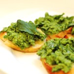 Arugula and Fava Bean Crostini