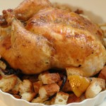 Lemon Roasted Chicken with Croutons