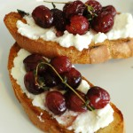 Thyme-Roasted Grape and Ricotta Crostini