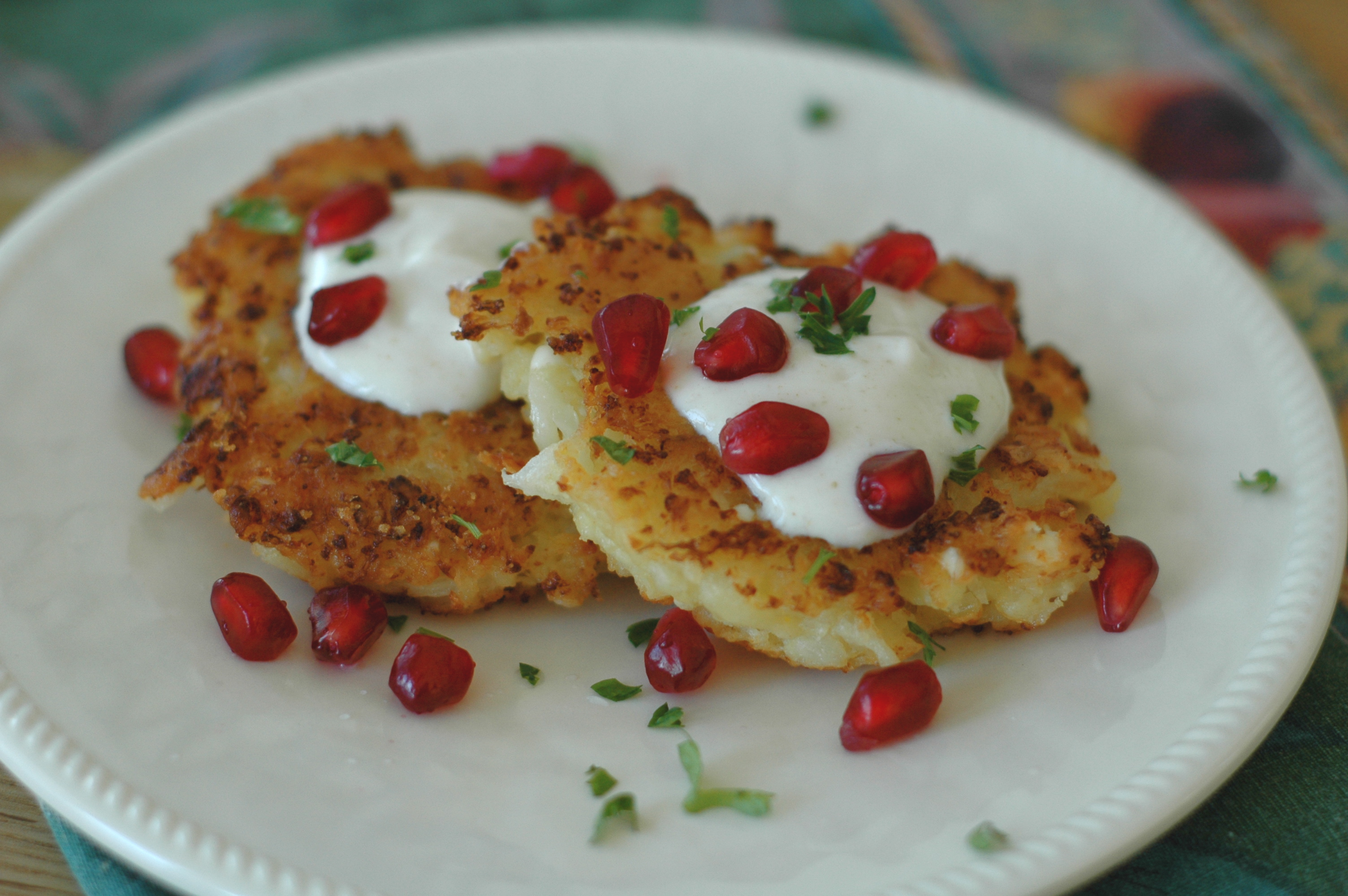 Cauliflower-Feta Fritters with Cumin Yogurt and Pomegranate - but i'm ...