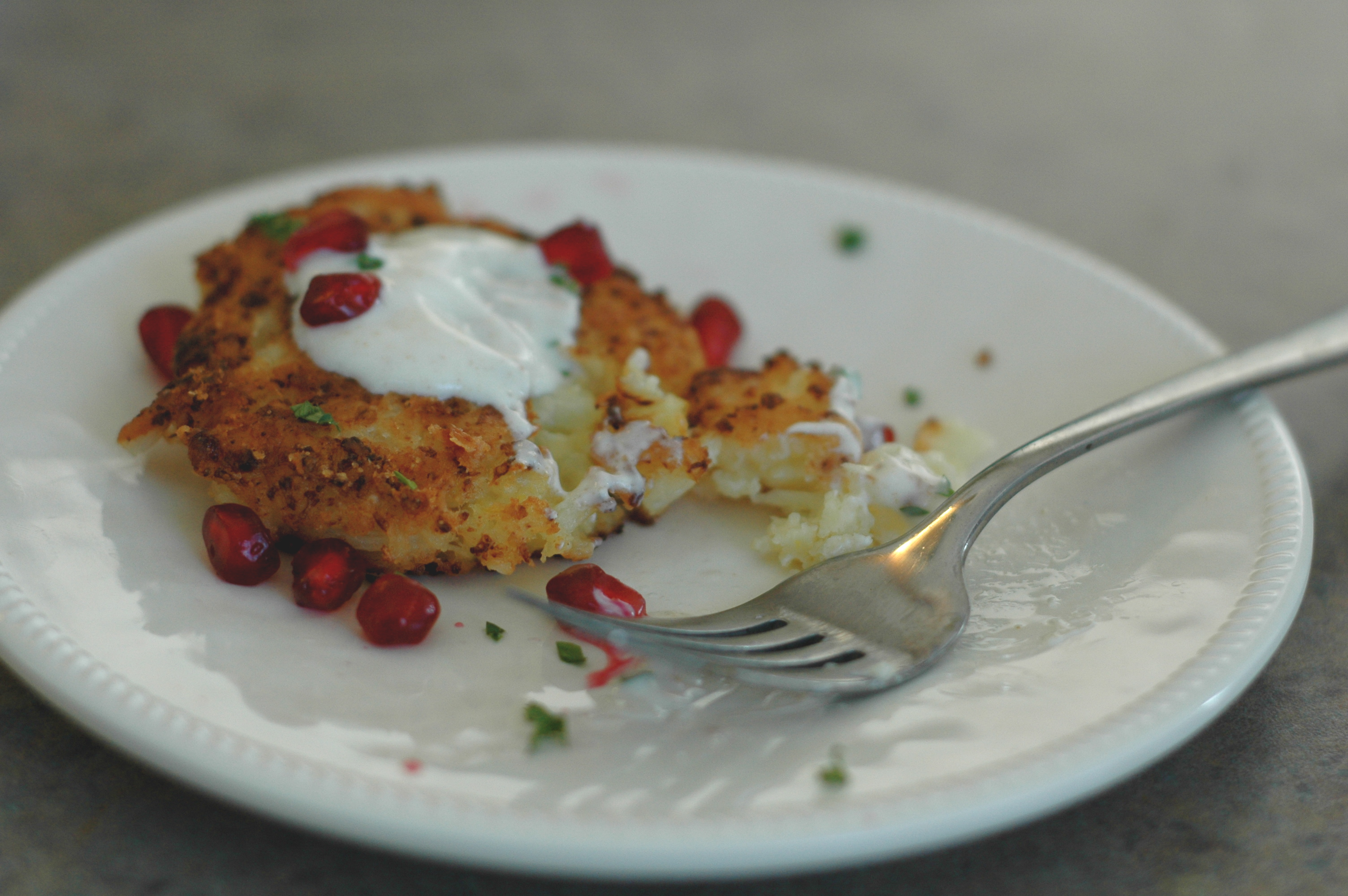 Cauliflower-Feta Fritters With Pomegranate Recipe — Dishmaps