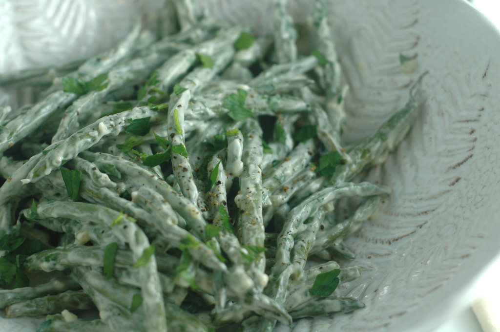 Roasted Green Beans with Garlic Aioli