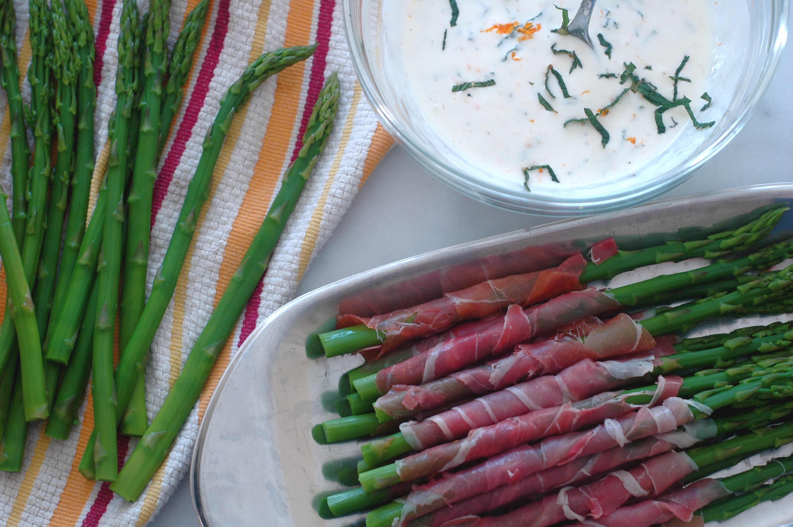 Prosciutto-Wrapped Asparagus with Orange-Mint Dipping Sauce