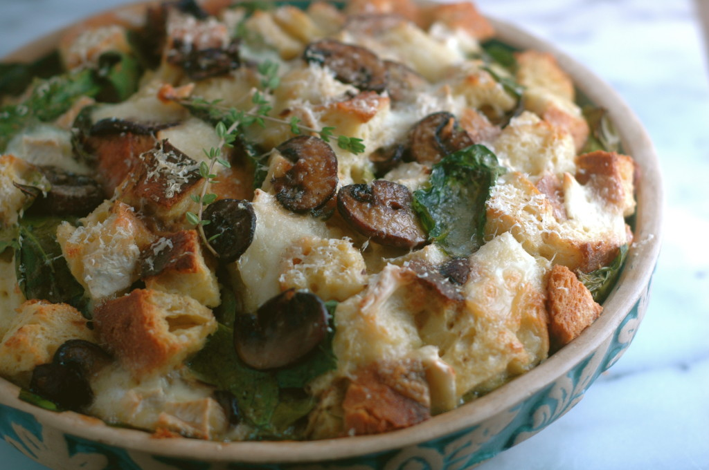 Brie, Mushroom, and Spinach Strata - but i'm hungry
