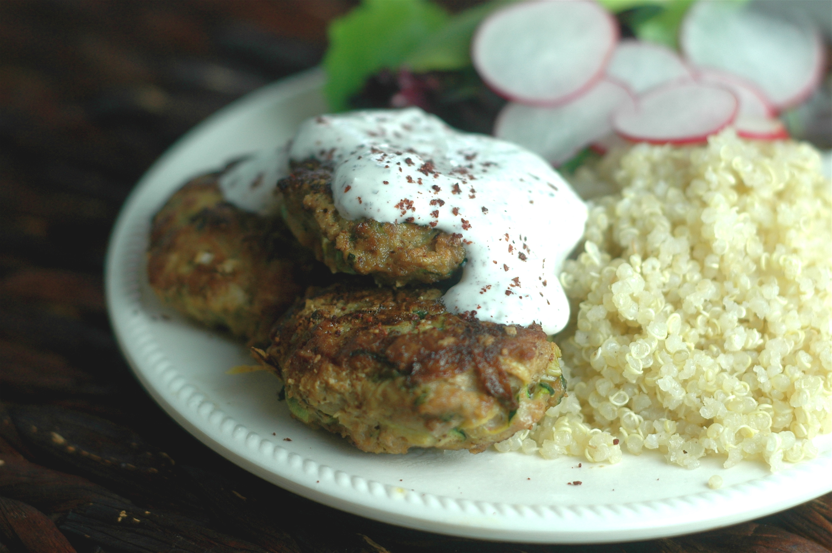 Turkey and Zucchini Burgers with Green Onion and Cumin