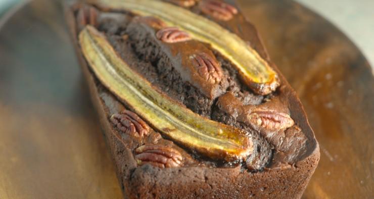 Chocolate Banana Cake with Pecans