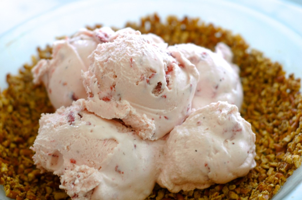 Strawberry Ice Cream Pie with a Pretzel Crust