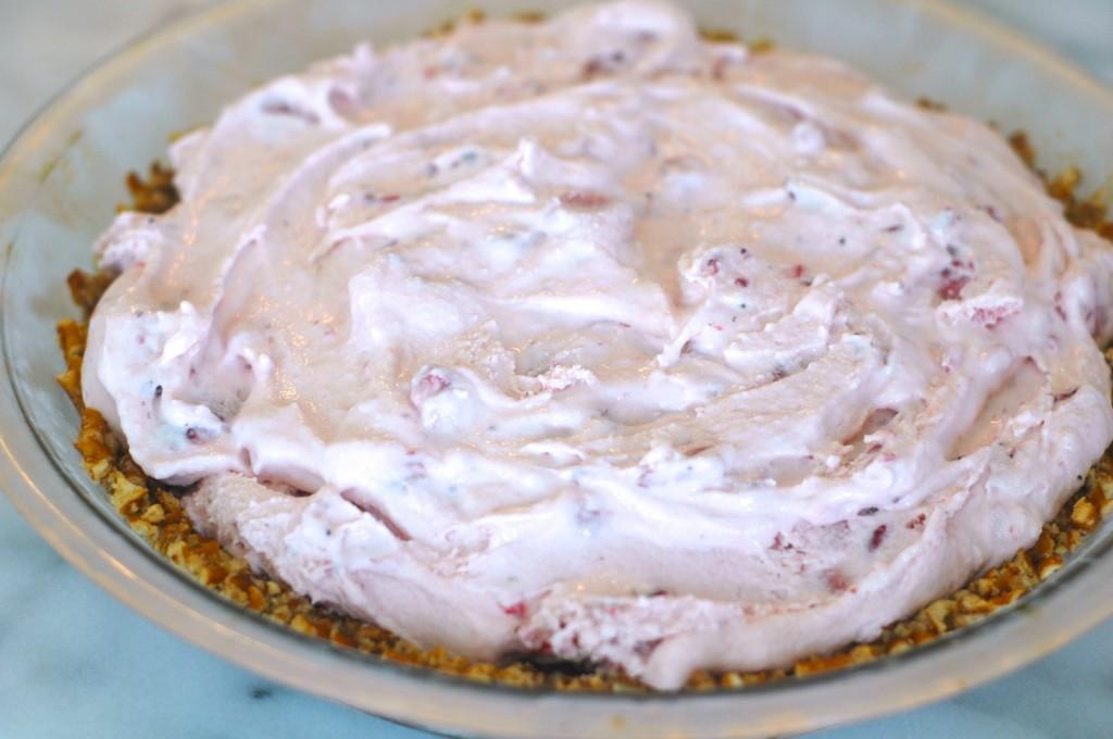 Strawberry Ice Cream Pie with a Pretzel Crust