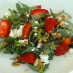 Purslane Salad with Strawberries, Walnuts, and Feta