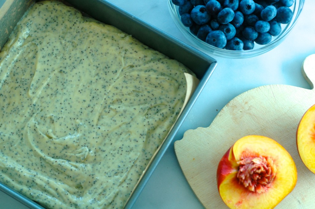 Poppyseed Cake with Nectarines and Blueberries