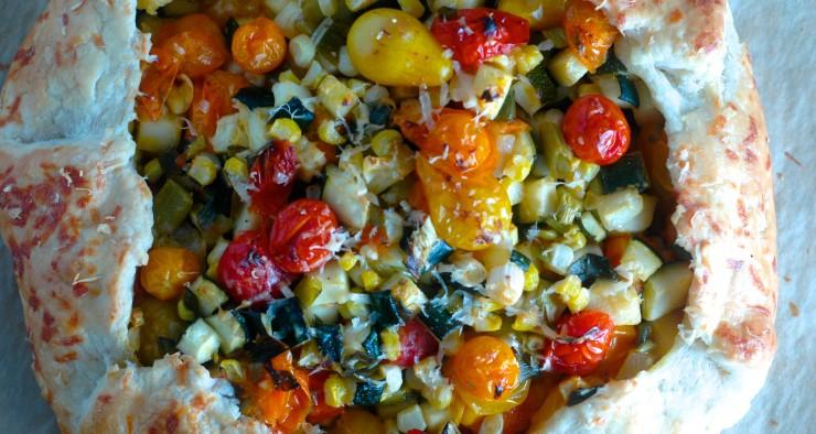 Burst Tomato Galette with Corn and Zucchini