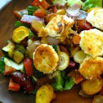 Harvest Vegetable and Goat Cheese Salad with Olive Vinaigrette