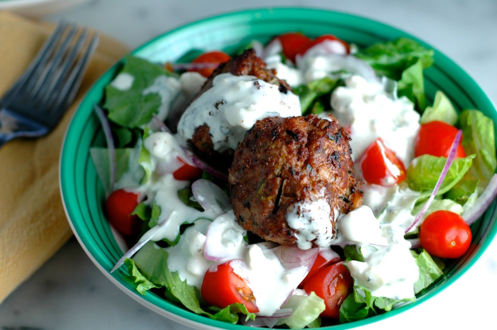Meatball Salad with Buttermilk Blue Cheese Dressing