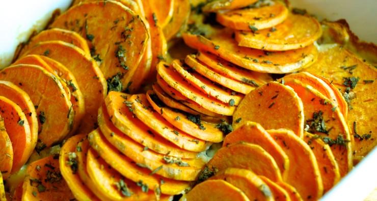 Sweet Potato Gratin with Sage and Garlic