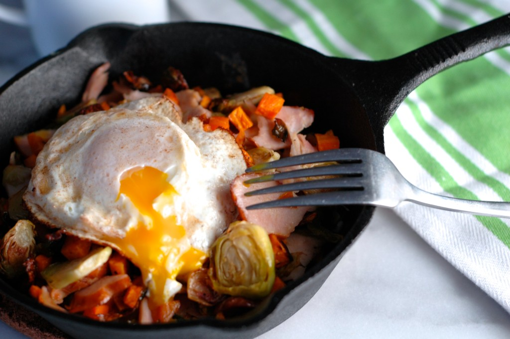 Sweet Potato, Brussells Sprouts, and Turkey Hash