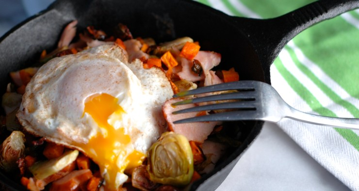 Sweet Potato, Brussels Sprout, and Turkey Hash