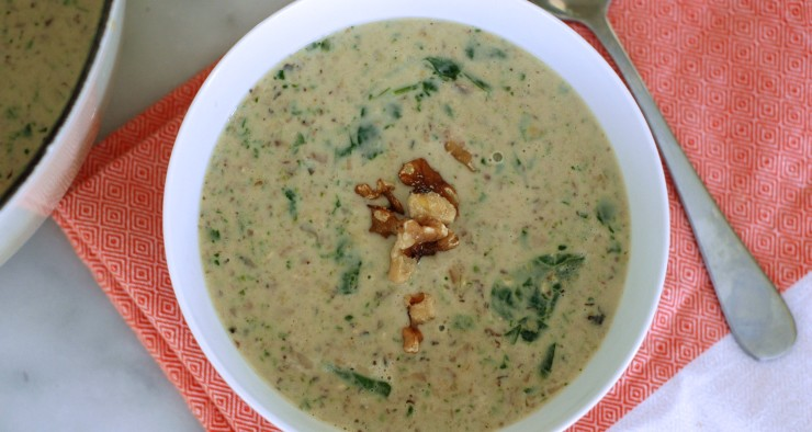 Mushroom, Spinach, and Walnut Soup
