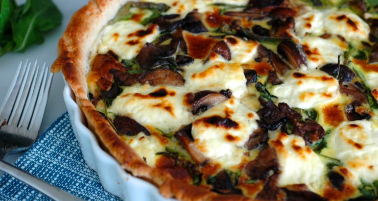 Wild Mushroom Tart with Arugula and Ricotta