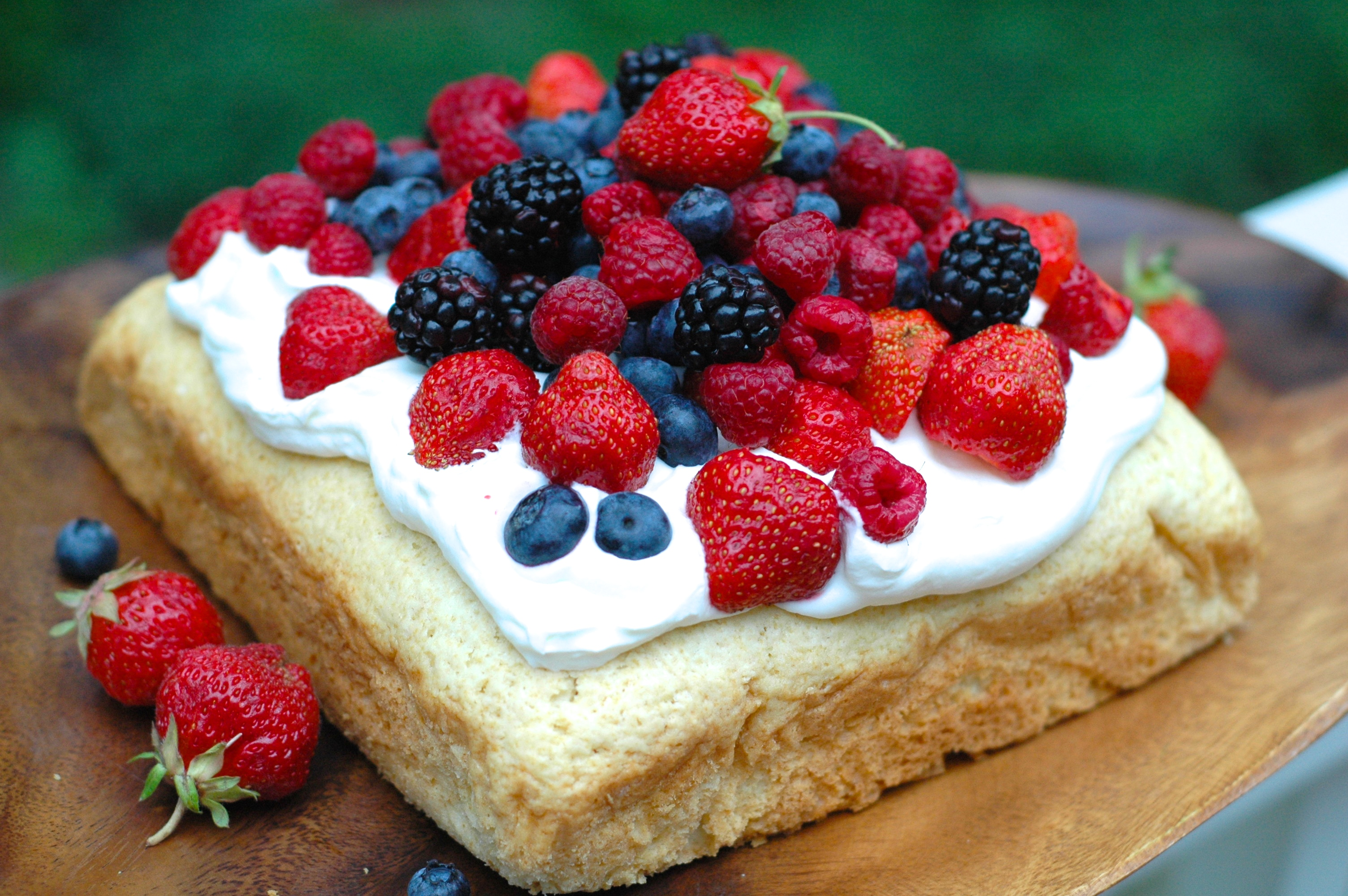 Party Cake with Fresh Whipped Cream and Berries