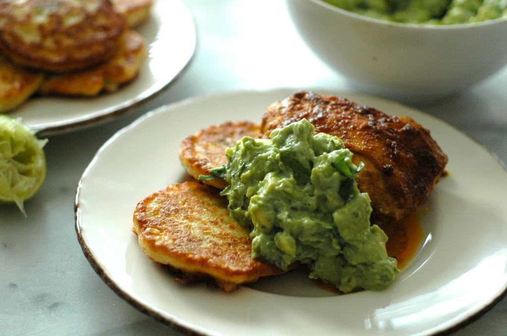 Cumin and Turmeric Roast Chicken with Smashed Avocado and Corn Cakes