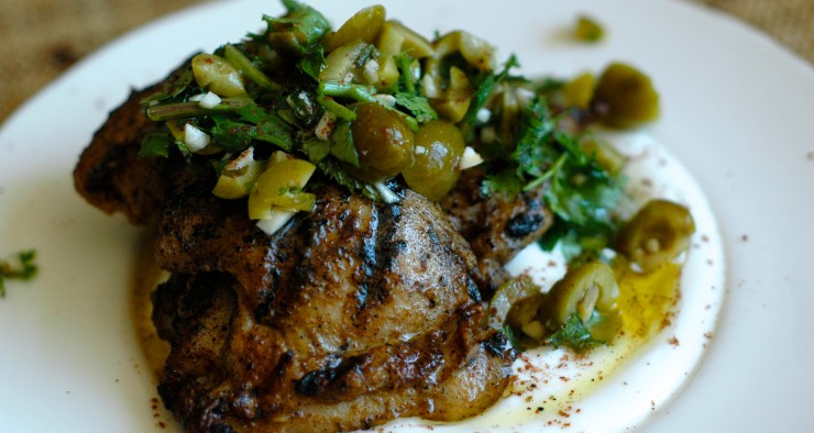 Turkish-Spiced Chicken with Green Olive Relish